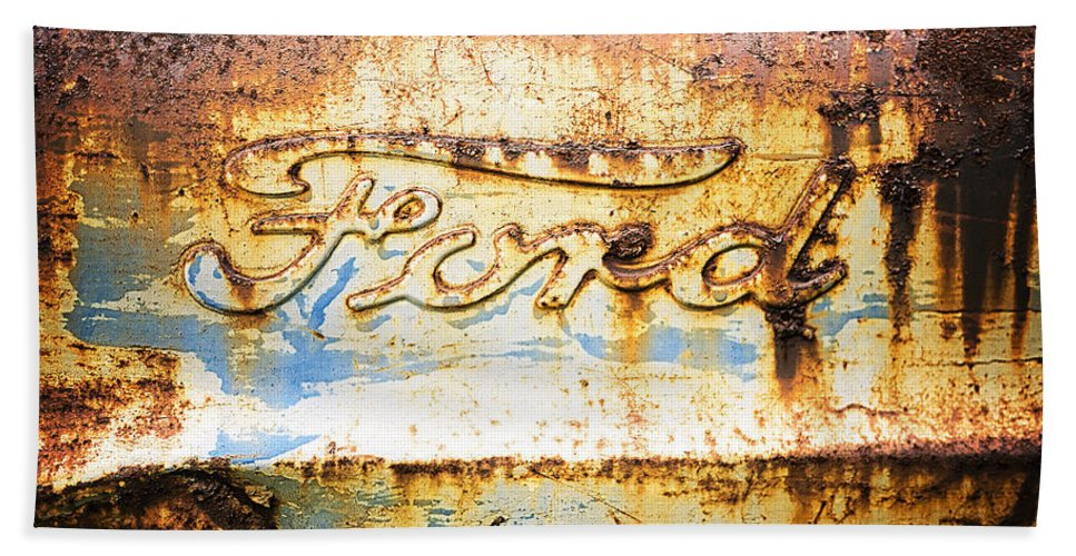 Ford Hand Towel featuring the photograph Rusty Old Ford Closeup by Edward Fielding