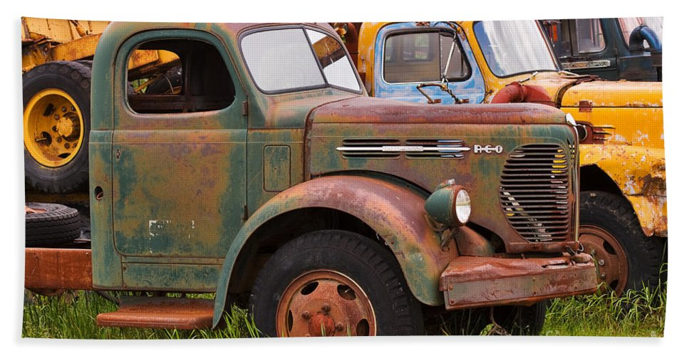 Truck Hand Towel featuring the photograph Rusty Old Trucks by Louise Heusinkveld
