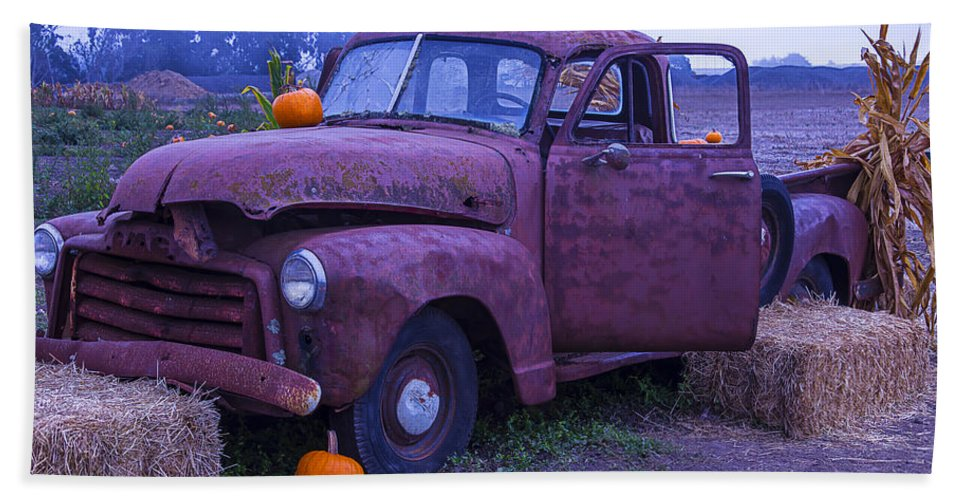 Truck Bath Sheet featuring the photograph Rusty Truck With Pumpkins by Garry Gay