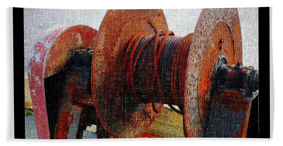 Rusty Winch Bath Sheet featuring the photograph Rusty Winch by Barbara Griffin
