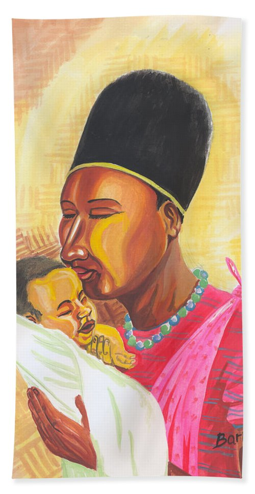 People Hand Towel featuring the painting Rwandan Maternal Kiss by Emmanuel Baliyanga