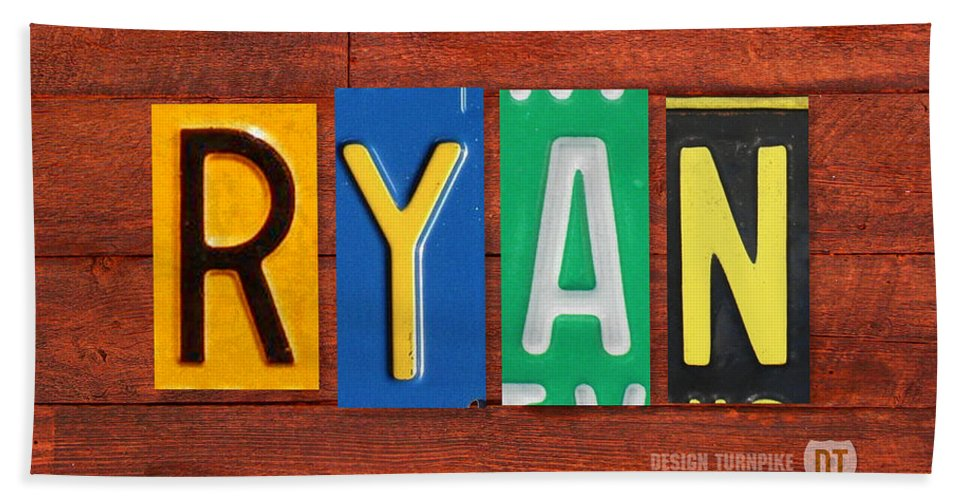 License Hand Towel featuring the mixed media Ryan License Plate Name Sign Fun Kid Room Decor. by Design Turnpike