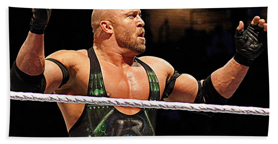 Ryback Bath Sheet featuring the photograph Ryback The Wrestler by Paul Wilford