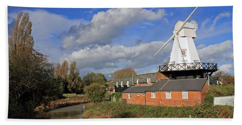 Rye Windmill Uk Sussex River British English Countryside Landscape Hand Towel featuring the photograph Rye Windmill by Julia Gavin