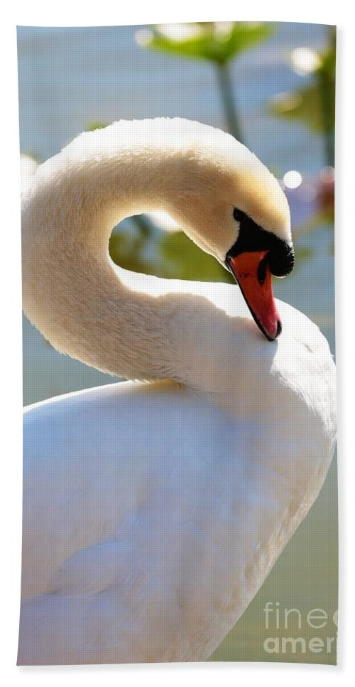 Swan Hand Towel featuring the photograph S Is For Swan by Carol Groenen