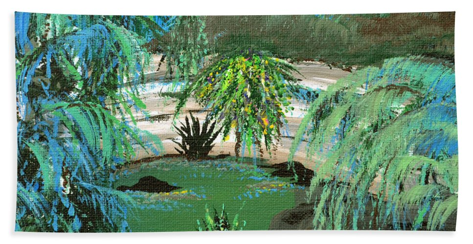Landscape Hand Towel featuring the painting Sacred Cenote At Chichen Itza by Alys Caviness-Gober