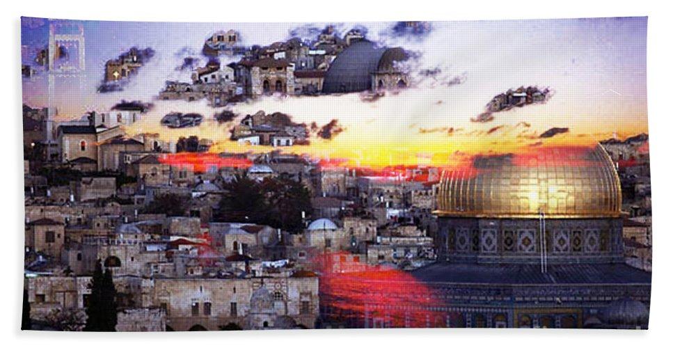 Israel Digital Art Bath Sheet featuring the digital art Sacred by Yael VanGruber