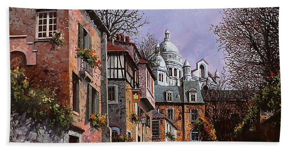 Paris Hand Towel featuring the painting Sacro Cuore by Guido Borelli