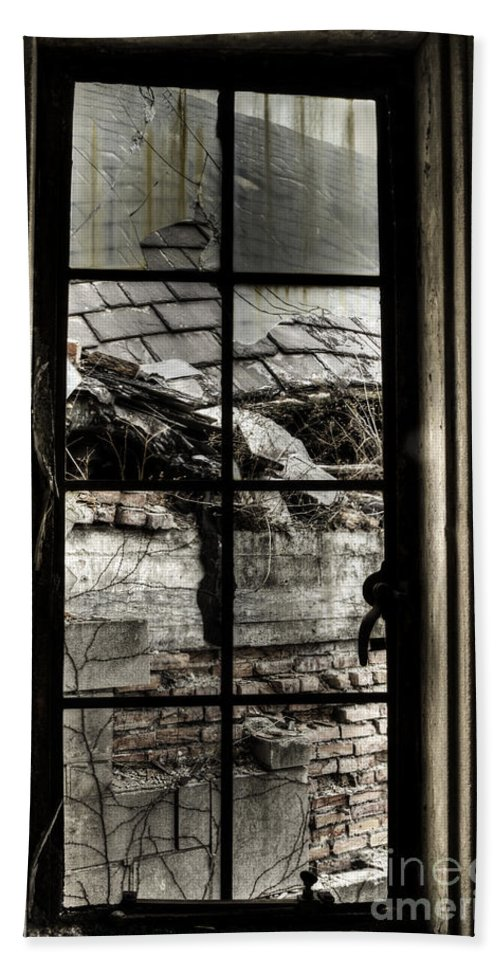 Window Bath Sheet featuring the photograph Sad View by Margie Hurwich