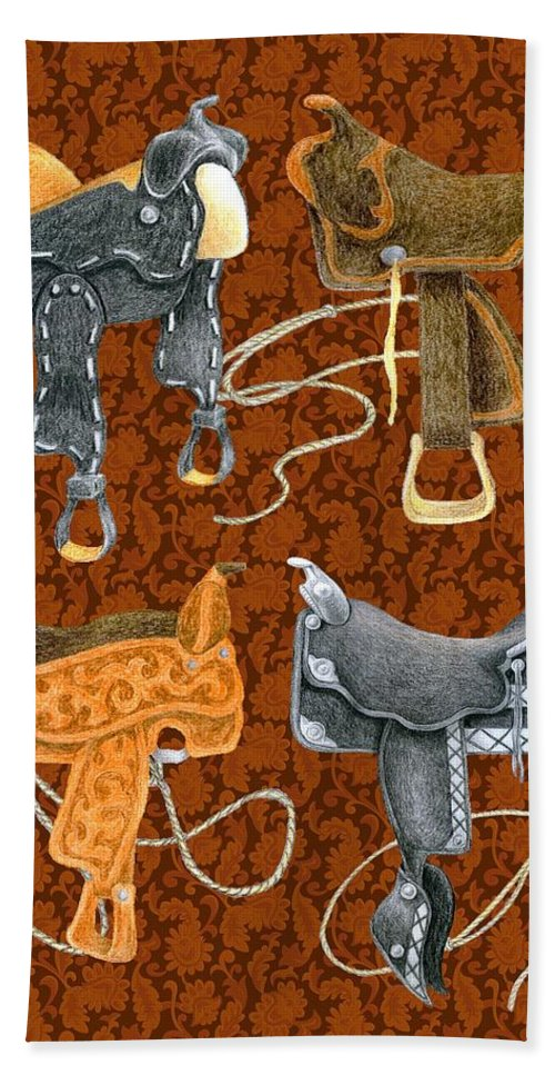 Saddle Hand Towel featuring the digital art Saddle Leather by Alison Stein