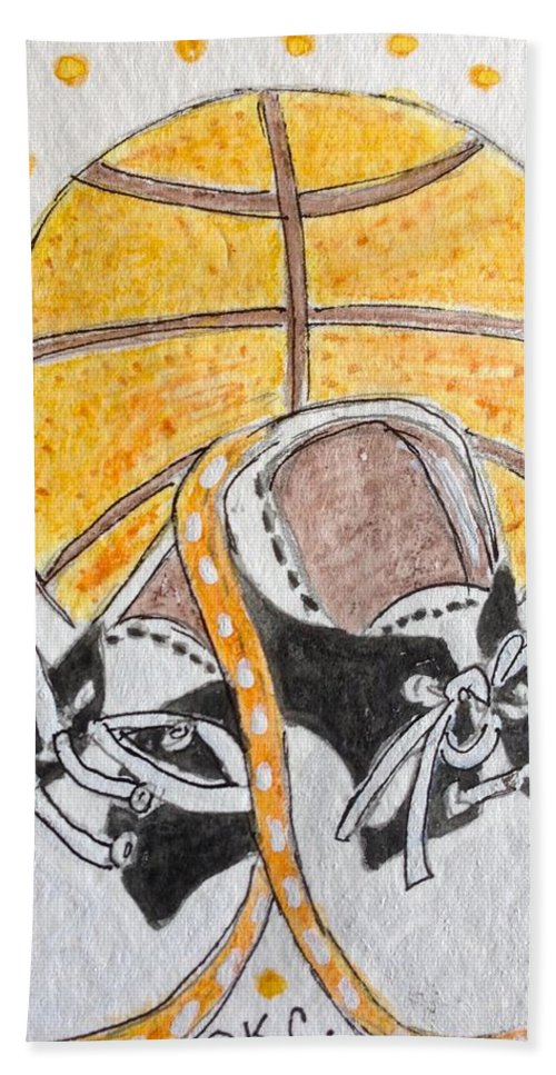 Basketball Hand Towel featuring the painting Saddle Oxfords And Basketball by Kathy Marrs Chandler