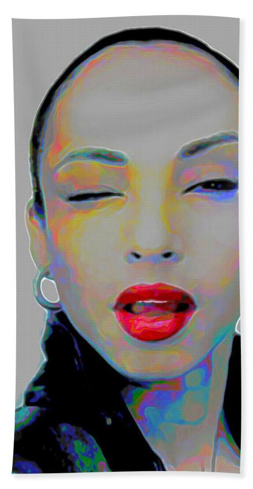 Sade Bath Towel featuring the painting Sade 3 by Fli Art