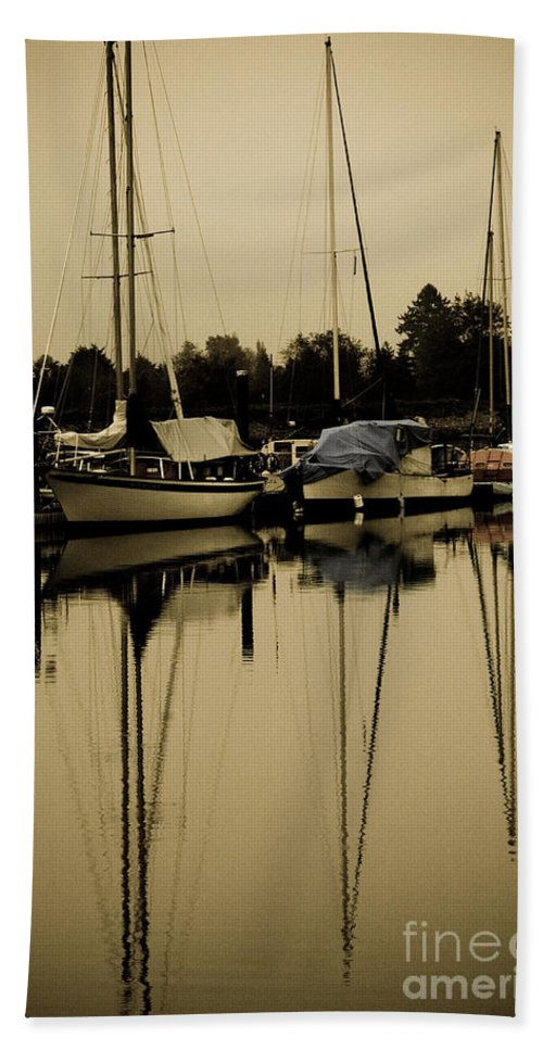 Sailboats Hand Towel featuring the photograph Safe Harbor by Venetta Archer