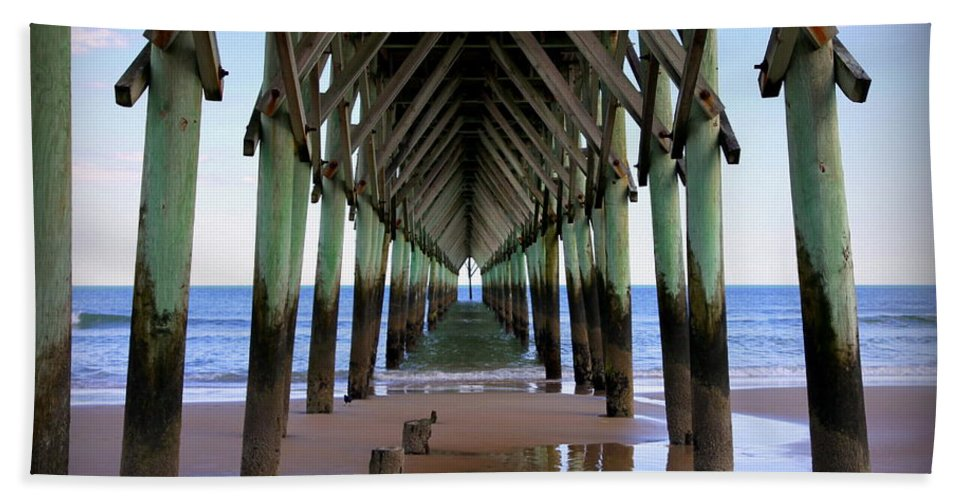 Surf City Pier Hand Towel featuring the photograph Safe Haven by Karen Wiles