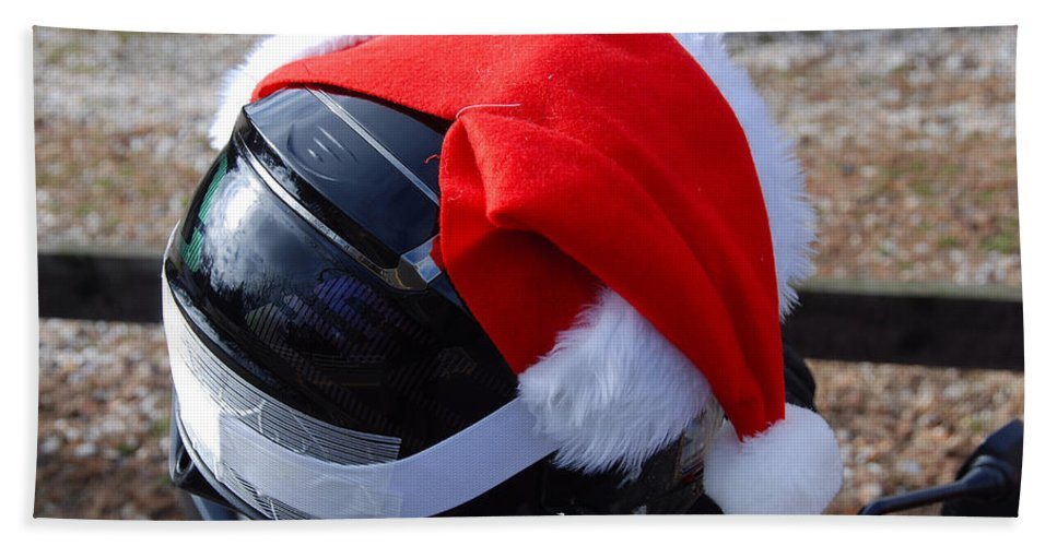 Christmas Hand Towel featuring the photograph Safety First Santa by John Schneider