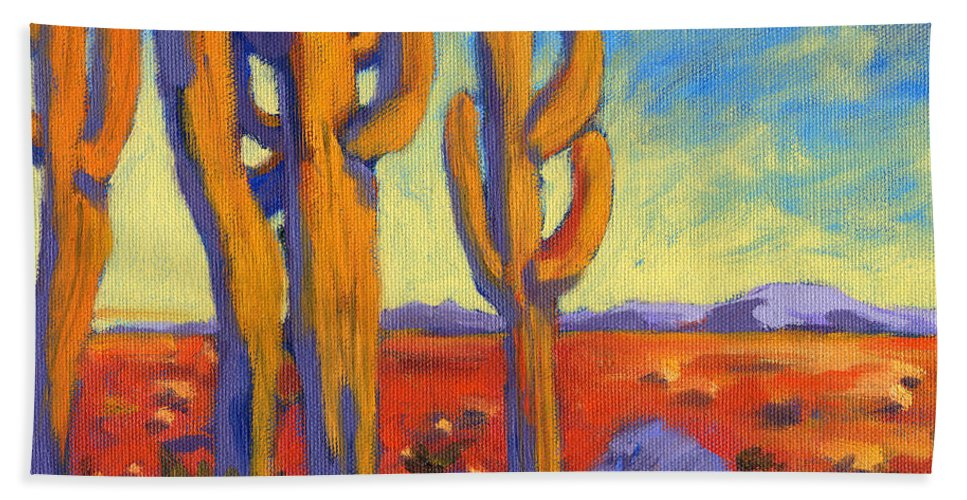 Arizona Hand Towel featuring the painting Desert Keepers by Konnie Kim