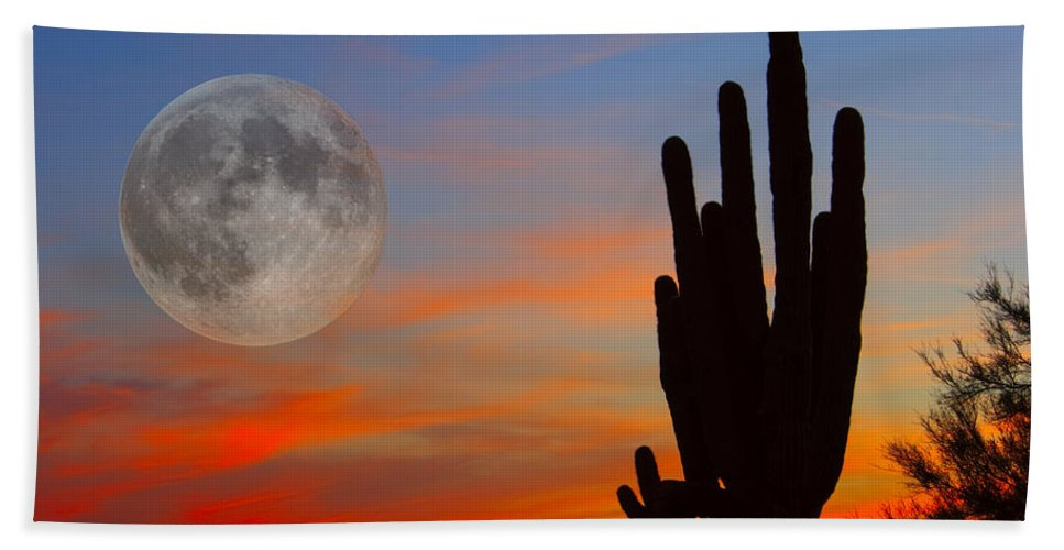 Sunrise Hand Towel featuring the photograph Saguaro Full Moon Sunset by James BO Insogna