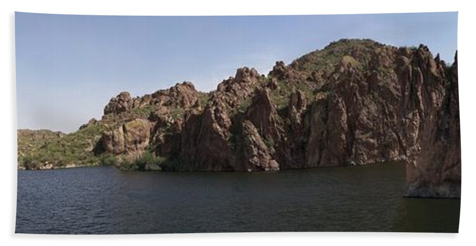 Saguaro Lake Bath Sheet featuring the photograph Saguaro Lake by Two Bridges North