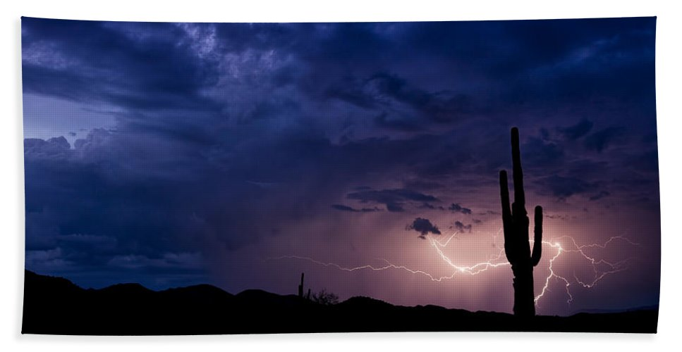 Lightning Bath Sheet featuring the photograph Saguaro Lightning by Saija Lehtonen