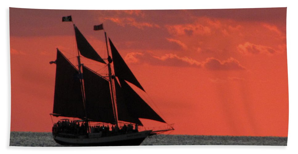 Sunset Hand Towel featuring the photograph Key West Sunset Sail 5 by Bob Slitzan