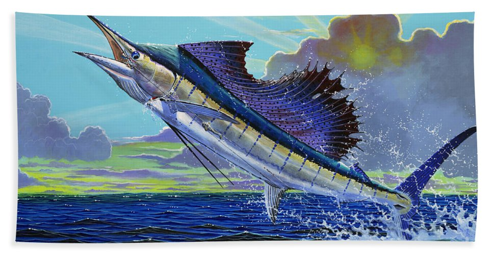 Sailfish Bath Sheet featuring the painting Sail Away Off0014 by Carey Chen