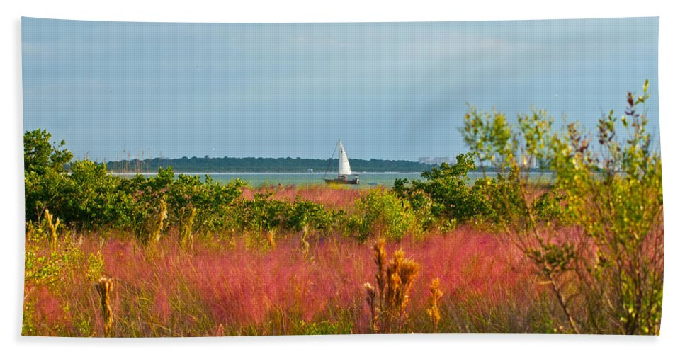 Florida Hand Towel featuring the photograph Sail Boat Honeymoon Island by Stephen Whalen