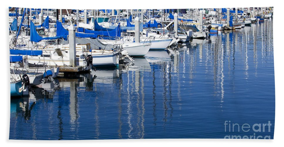 Sail Bath Sheet featuring the photograph Sail Boats Docked In Marina by B Christopher