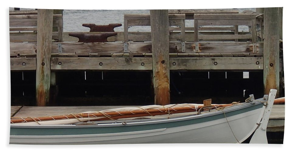 Wooden Boat Bath Sheet featuring the photograph Sail Down. by Robert Nickologianis