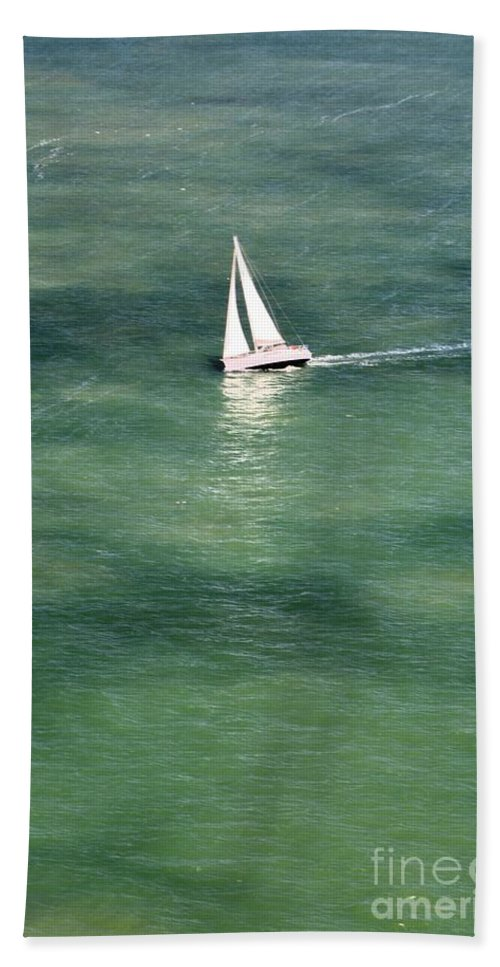 Sailboat Hand Towel featuring the photograph Sail On The Bay by Beth Sanders