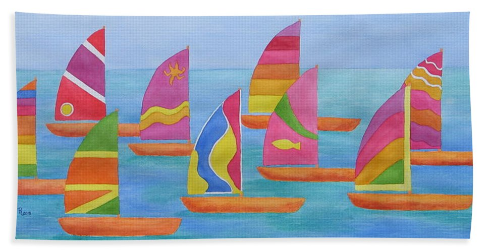 Sailboats Hand Towel featuring the painting Sailabration by Rhonda Leonard