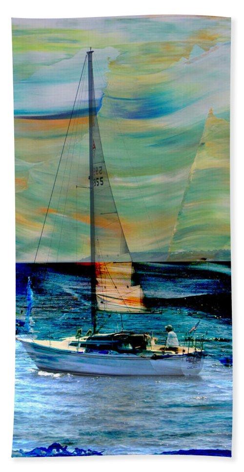 Sailboat Bath Sheet featuring the digital art Sailboat And Abstract by Anita Burgermeister