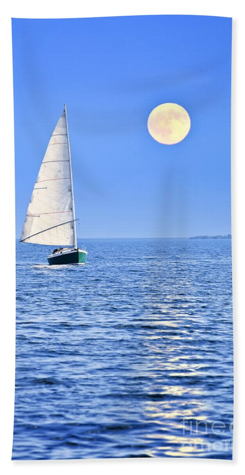 Sail Bath Towel featuring the photograph Sailboat At Full Moon by Elena Elisseeva