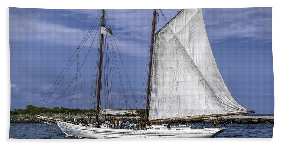 Sail Bath Sheet featuring the photograph Sailboat In Cape May Channel by Nick Zelinsky