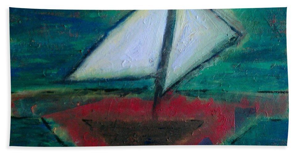 Sailboat Hand Towel featuring the painting Sailboat by Jacqueline McReynolds