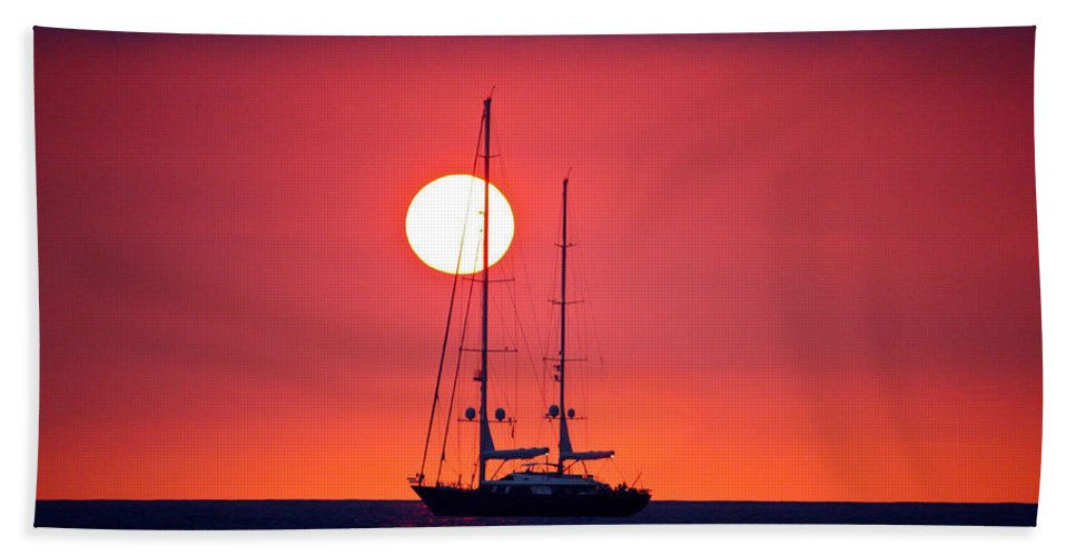 Sunset Hand Towel featuring the photograph Sailboat Sunset by Venetia Featherstone-Witty