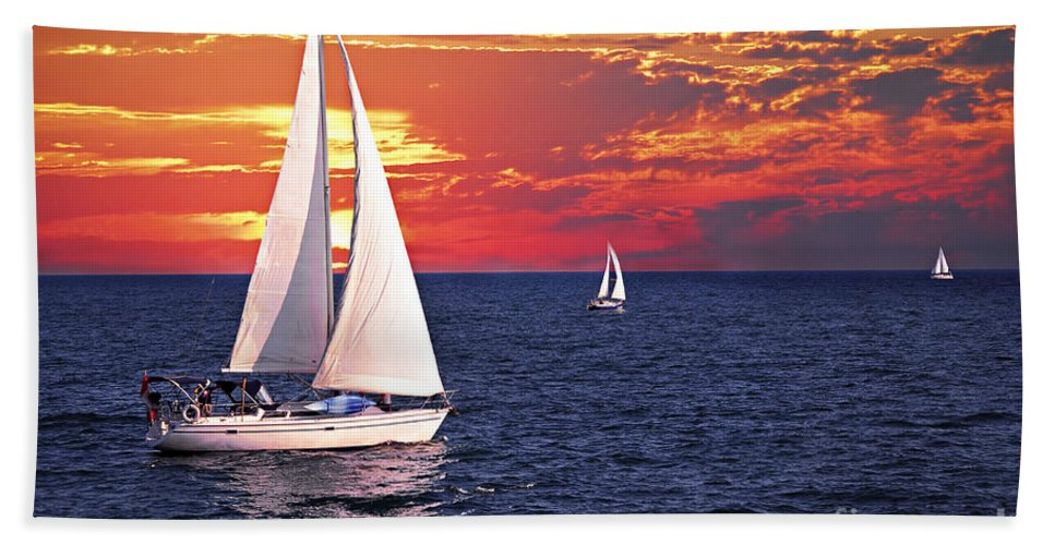 Boat Bath Sheet featuring the photograph Sailboats At Sunset by Elena Elisseeva