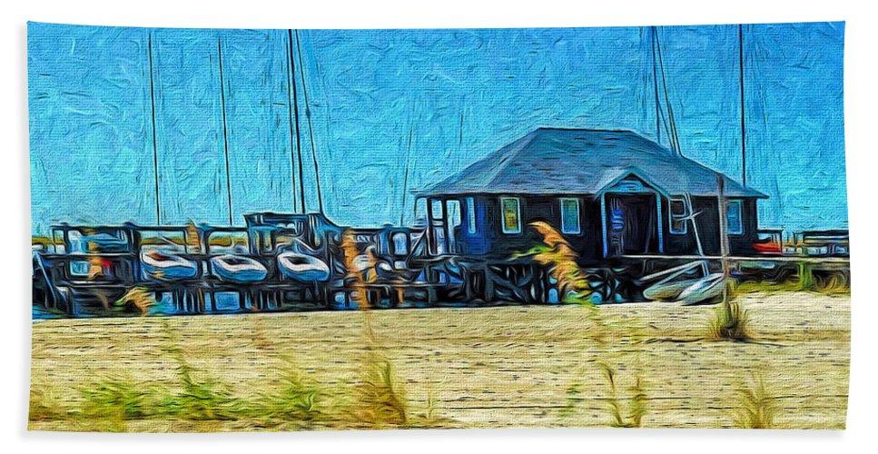Sailboats Bath Sheet featuring the photograph Sailboats Boat Harbor - Quiet Day At The Harbor by Rebecca Korpita