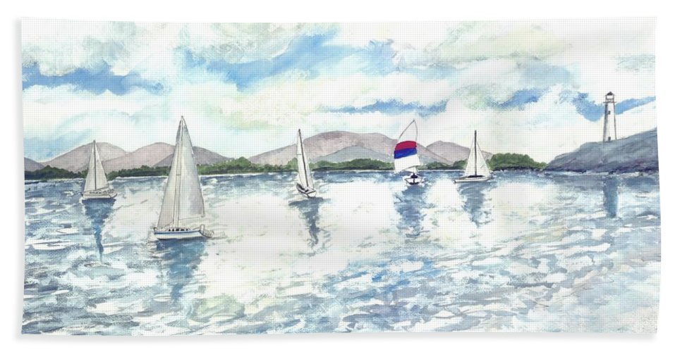 Sailboats Hand Towel featuring the painting Sailboats by Derek Mccrea