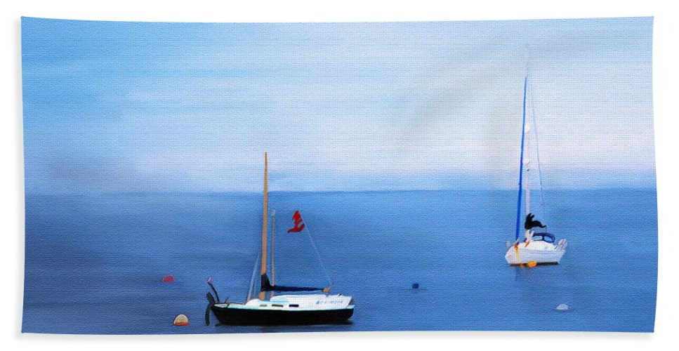 Fine Art Hand Towel featuring the painting Sailboats in Skerries Harbor- mixed media photography by Patricia Griffin Brett