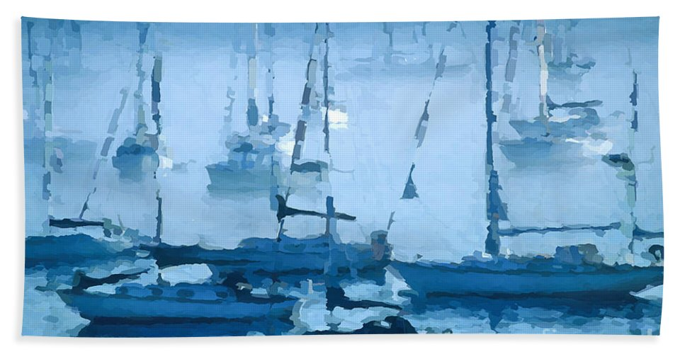 Sailboats Hand Towel featuring the photograph Sailboats In The Fog II by David Perry Lawrence