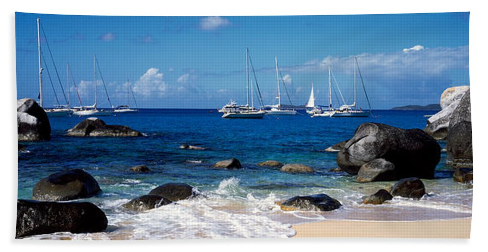 Photography Bath Towel featuring the photograph Sailboats In The Sea, The Baths, Virgin by Panoramic Images