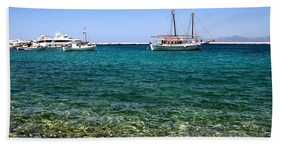 Sailboat Bath Sheet featuring the photograph Sailboats On The Water by Corinne Rhode
