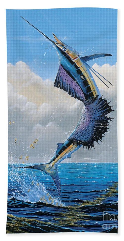 Sailfish Bath Sheet featuring the painting Sailfish Dance Off0054 by Carey Chen