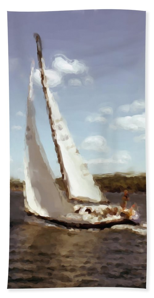 Sailboar Hand Towel featuring the digital art Sailing 1 by Cathy Anderson