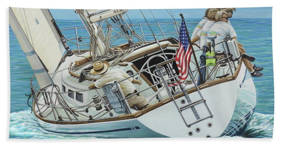 Ocean Hand Towel featuring the painting Sailing Away by Jane Girardot