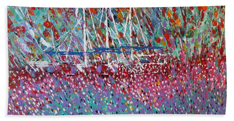 Flowers Hand Towel featuring the painting Sailing Among The Flowers by George Riney