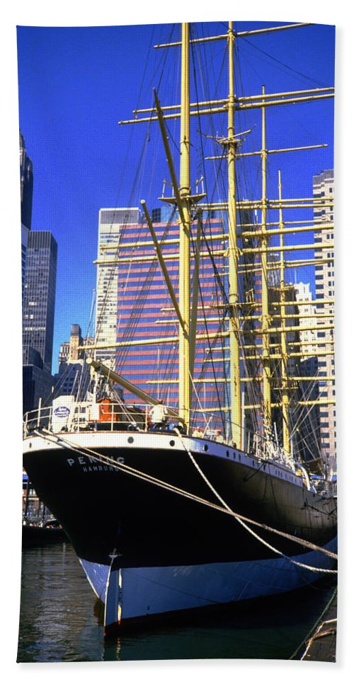 Sailing Bath Sheet featuring the photograph Sailing Boat Anchored In South Street Seaport 1984 by Gordon James