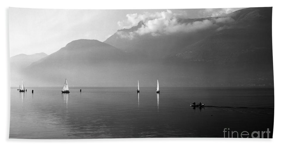 Lario Hand Towel featuring the photograph Sailing Boats On Como Lake by Riccardo Mottola
