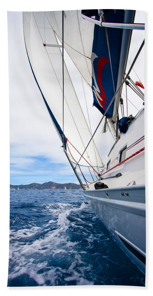 3scape Hand Towel featuring the photograph Sailing Bvi by Adam Romanowicz
