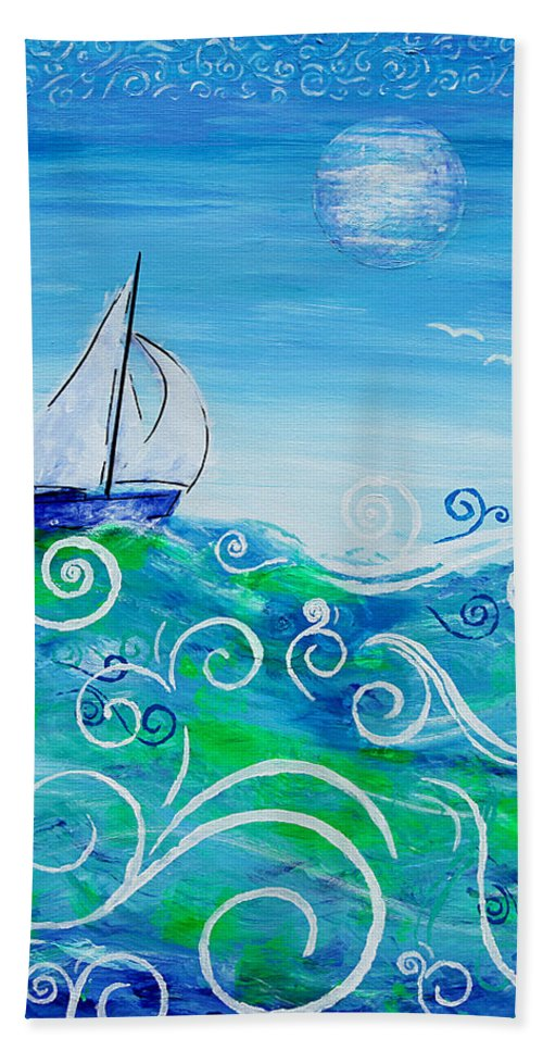 Sailing Hand Towel featuring the painting Sailing By Jan Marvin by Jan Marvin